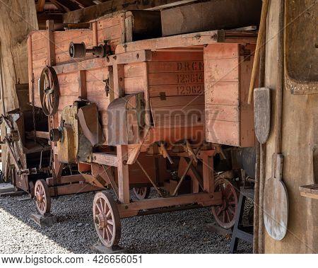 A Vintage Wooden Threshing Machine, Wojslawice Arboretum, Poland, 9.07.2021