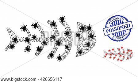 Mesh Polygonal Dead Fish Symbols Illustration In Lockdown Style, And Rubber Blue Round Poisoned Stam