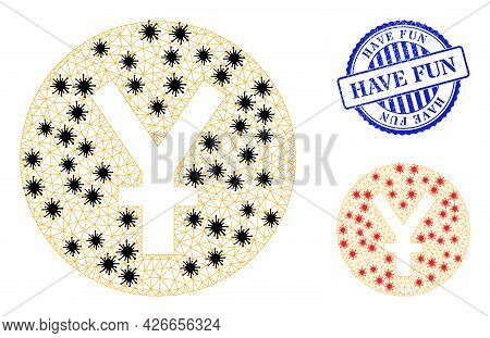 Mesh Polygonal Yuan Coin Icons Illustration In Infection Style, And Grunge Blue Round Have Fun Seal.
