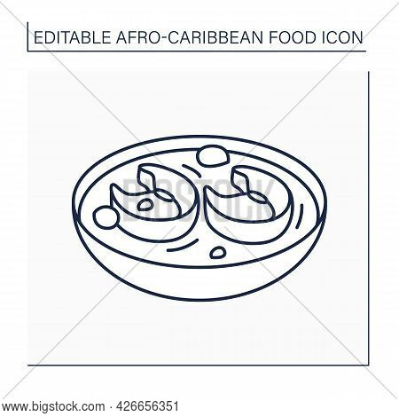 Afro-caribbean Food Line Icon. Okra Soup With Assorted Meat Or Fish. Nigerian Traditional Soup. Loca