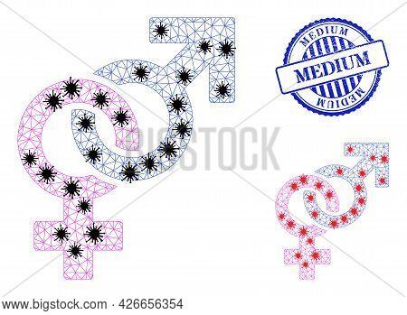 Mesh Polygonal Straight Sex Symbol Icons Illustration With Infection Style, And Scratched Blue Round