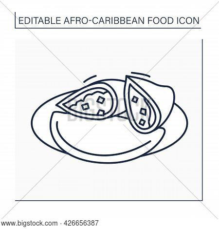 Afro-caribbean Food Line Icon. Meat Pie. Tart With Chunky Meat Filling. Traditional Dish. Local Food