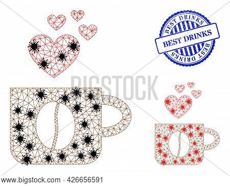 Mesh Polygonal Love Coffee Cup Icons Illustration With Infection Style, And Rubber Blue Round Best D
