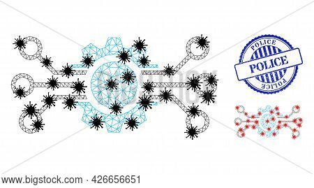 Mesh Polygonal Gear Circuit Icons Illustration With Infection Style, And Distress Blue Round Police