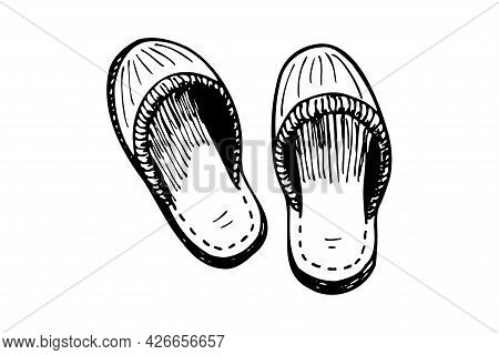 Sleeping Slipper Couple Hand Drawn Sketch. Home Comfortable Shoes Pair Black And White Doodle. Bedro