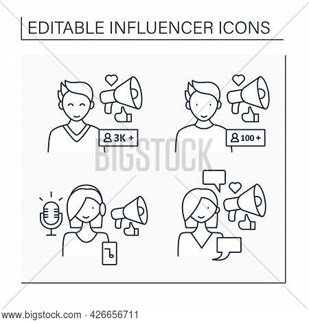 Influencer Line Icons Set. Micro And Macro Influencer, Podcaster, Social Posts Writer. Blogging Conc