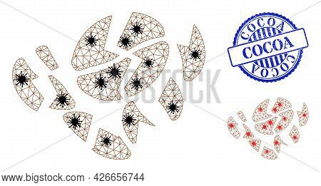 Mesh Polygonal Coffee Bean Destruction Symbols Illustration Designed Using Infection Style, And Text