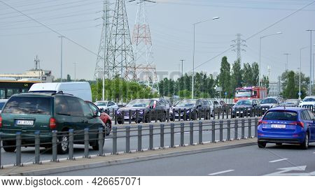 Warsaw, Poland. 13 July 2021. View Of The Traffic Jam On The  Highway. Cars On The Highway Are Stuck
