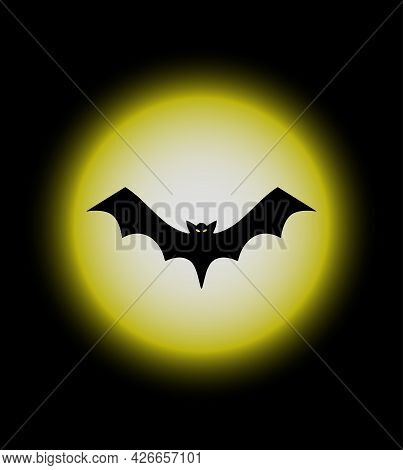 Full Moon And Flying Bat, Halloween Background. Halloween Festival And Celebration Abstract Backgrou