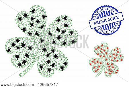 Mesh Polygonal Lucky Clover Leaf Icons Illustration In Infection Style, And Textured Blue Round Fres