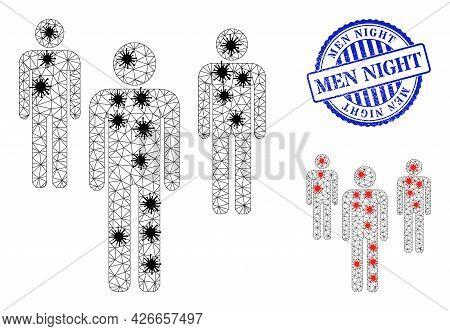 Mesh Polygonal Men Figures Symbols Illustration In Outbreak Style, And Grunge Blue Round Men Night B