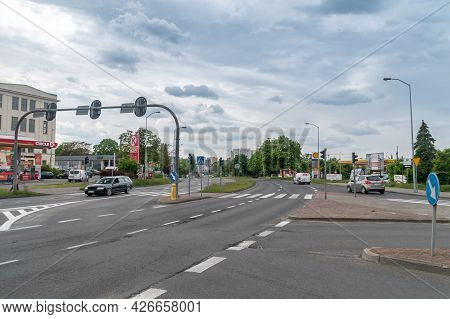Zielona Gora, Poland - June 1, 2021: Constitution Avenue On May 3 At Cloudy Day.