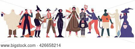 Halloween Party Characters. Celebrating People In Halloween Costumes, Halloween Spooky Outfits Party