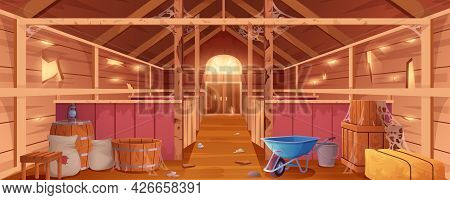 Cartoon Abandoned Barn Interior With Spiderweb And Destroyed Walls. Neglected Farm House Or Wooden E