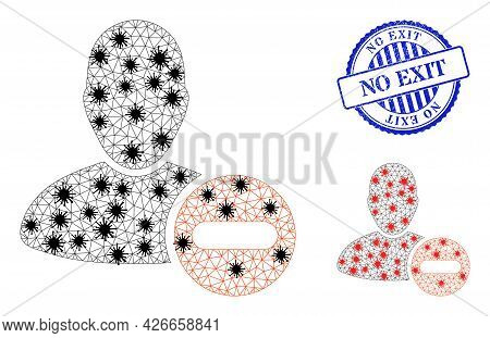 Mesh Polygonal Remove User Symbols Illustration In Infection Style, And Scratched Blue Round No Exit