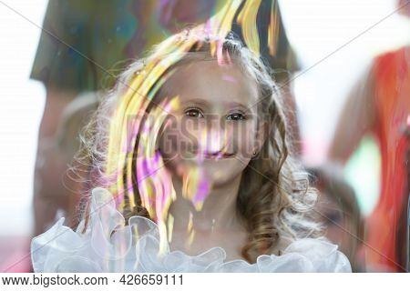 03 June 2016 Belarus, The City Of Gomil. Kindergarten In The City. Little Girl At Matins In A Soap B