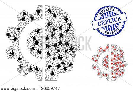 Mesh Polygonal Cyborg Head Icons Illustration Designed Using Lockdown Style, And Grunge Blue Round R