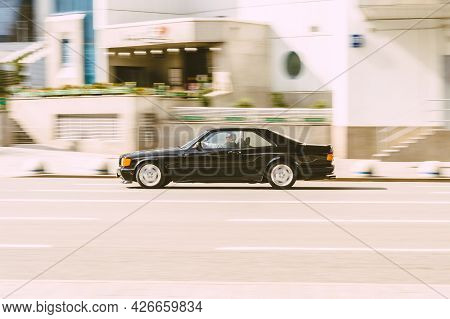 Moscow, Russia - May, 2021: Mercedes-benz C126 Coupe In Motion On The City Road. Mercedes Sec-class