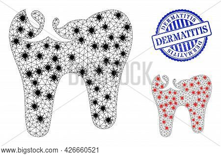 Mesh Polygonal Tooth Caries Icons Illustration Designed Using Outbreak Style, And Textured Blue Roun