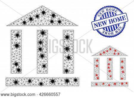 Mesh Polygonal Library Building Symbols Illustration Designed Using Lockdown Style, And Grunge Blue