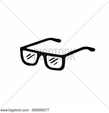 Single Eyeglasses In Doodle Style. Hand Drawn Sign Of Eyewear For Greeting Cards And Stickers. Vecto