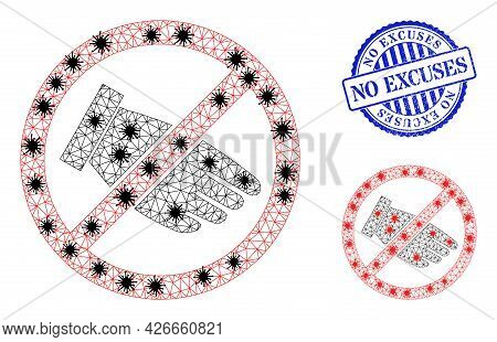 Mesh Polygonal No Hand Icons Illustration In Lockdown Style, And Scratched Blue Round No Excuses Bad