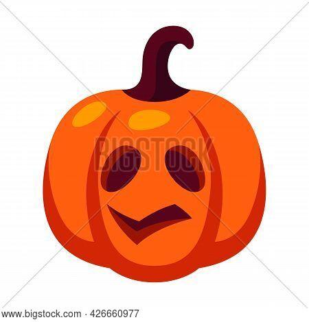 Cartoon Illustration Of Pumpkin Jack Lantern. Happy Halloween Celebration.
