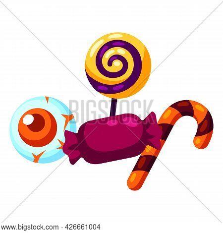 Cartoon Illustration Of Candy Treat Or Trick. Happy Halloween Celebration.