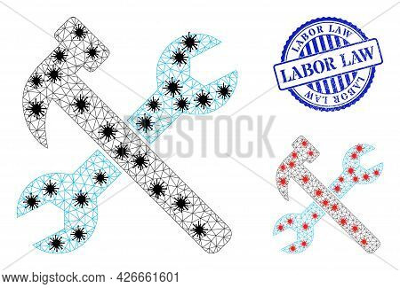 Mesh Polygonal Wrench And Hammer Icons Illustration In Lockdown Style, And Grunge Blue Round Labor L