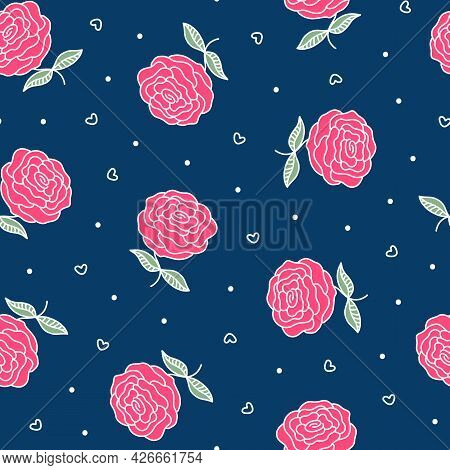 Vintage Roses Seamless Pattern. Pink Flowers And White Dots On Navy Blue. Hand Drawn Garden Plant. F