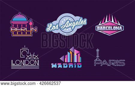 City And Biggest Capitals Name Design Vector Set