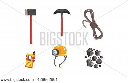 Coal And Ore Mining Industry With Pickaxe And Hammer Vector Set
