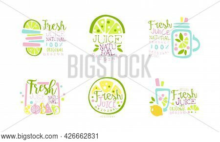 Fresh Juice As Natural Product Original Logo Design Vector Set
