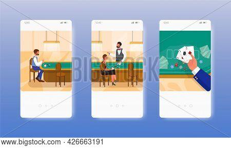 People Playing Poker Game. Casino Gambling. Mobile App Screens, Vector Website Banner Template. Ui,