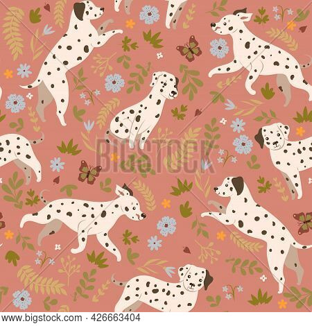 Seamless Pattern With Dalmatian Dogs. Vector Image.