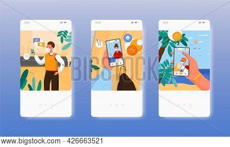 Distance Communication. Couple Video Calling. Mobile App Screens, Vector Website Banner Template. Ui