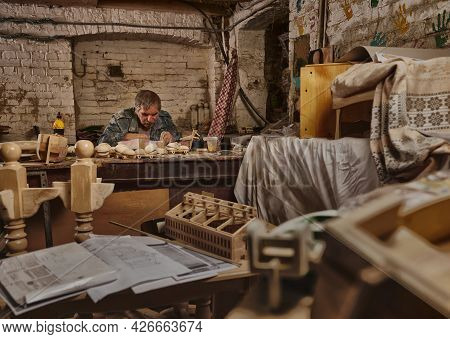 Portrait Of Carpenter, Craftsman In Carpentry Workshop. Artist At Work, Hobby Like Profession. Art,