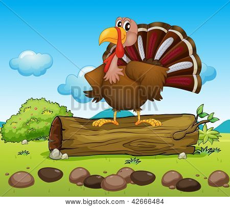 Illustration of a turkey standing above a wood