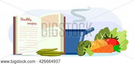 Healthy Recipes Cookbook Creative Cooking Flat Style Vector Illustration Recipe From An Old Cookbook