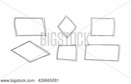 Highlight Rectangle Scribble Frame - Ink Pen Scrawl Border For Emphasis And Highlighting Text Or Imp