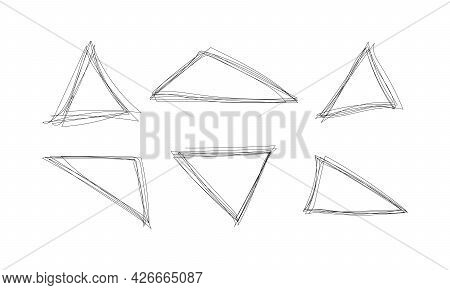 Highlight Triangle Scribble Frame - Ink Pen Scrawl Border For Emphasis And Highlighting Text Or Impo