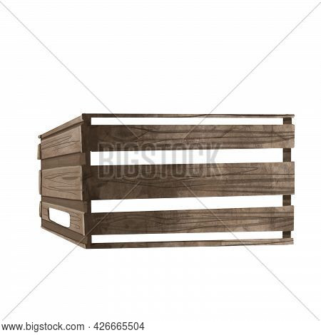 Set Of Isolated Wooden Crates For Vegetables. Watercolor Illustration