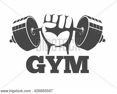 Fitness Gym Or Athletic Club Emblem With Fist Holds Barbell
