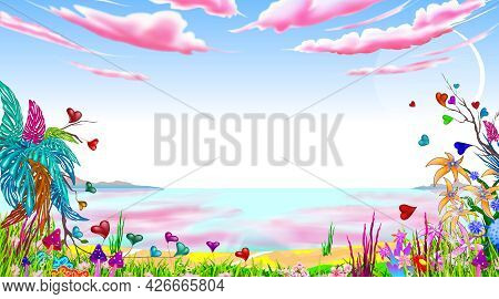 Fantasy Fabulous Landscape. Seascape. Blue Sky With Pink Clouds. Fabulous Plants And Flowers.