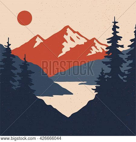 Vintage Mountain Landscape With Sun, Mountains And Forest.