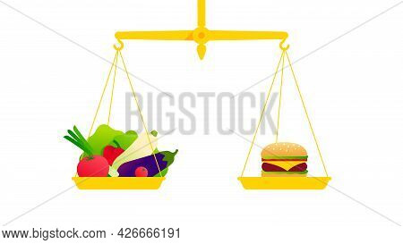 Healthy Food Concept. The Balance Scales With Vegetables And Junk Food. Vintage Gold Scales With Bow