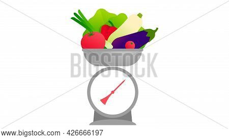 The Kitchen Scales With Vegetables. Fresh Lettuce, Zucchini, Tomatoes, Paprika, Eggplant, Onion. Min