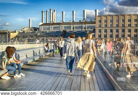 Moscow - June 02, 2021: People Visit The Zaryadye Park With Floating Bridge In Moscow, Russia. Zarya