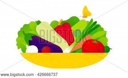 Fresh Vegetables On Flat Plate. Fresh Lettuce, Zucchini, Tomatoes, Paprika, Eggplant, Onion, Salad.