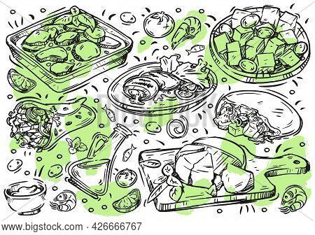 Hand Drawn Line Vector Illustration Food. Doodle Greek Cuisine On White Board: Olives And Olive Oil,